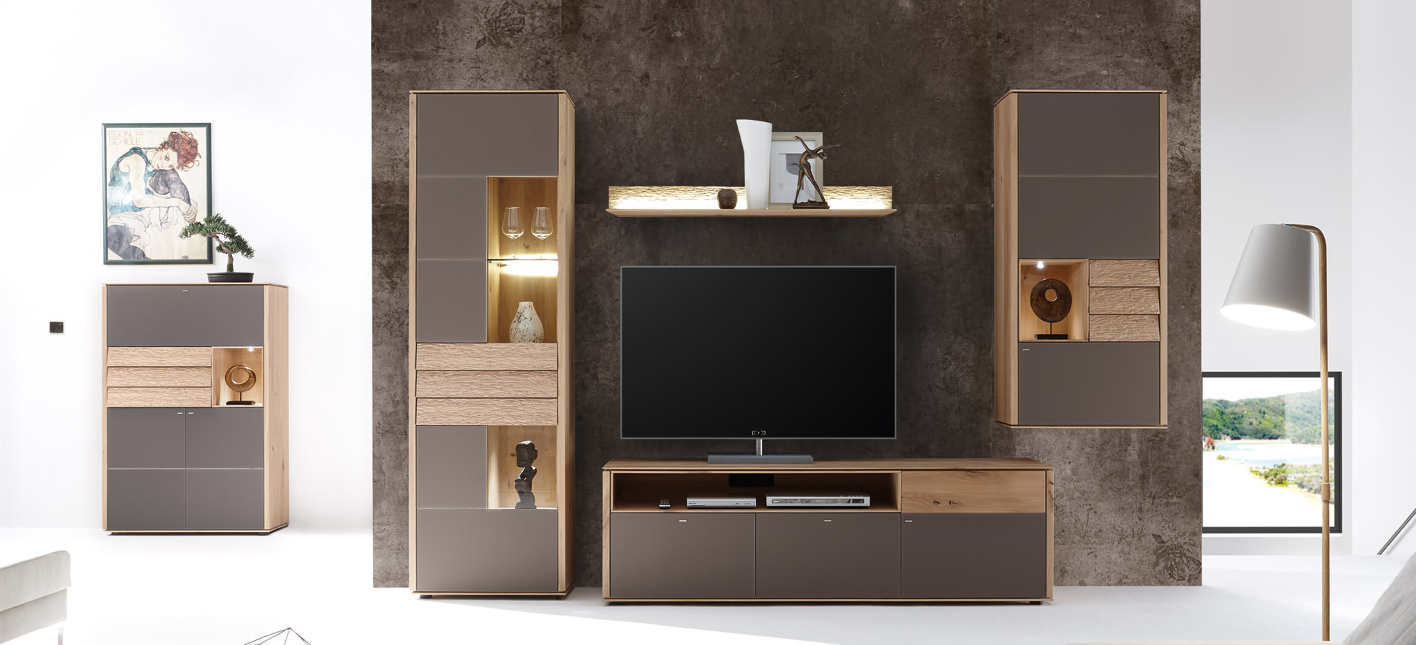 Design wohnwand straight  Decker solid wood furniture » Alivio living room furniture ✓
