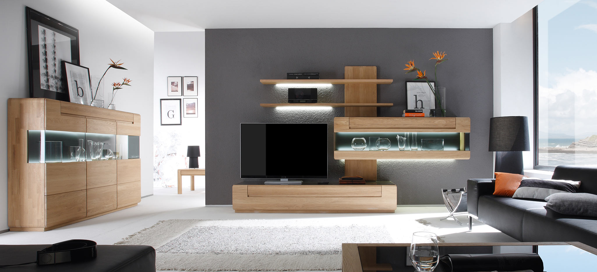 delgado schrankwand wohnzimmer decker massivholzm bel. Black Bedroom Furniture Sets. Home Design Ideas